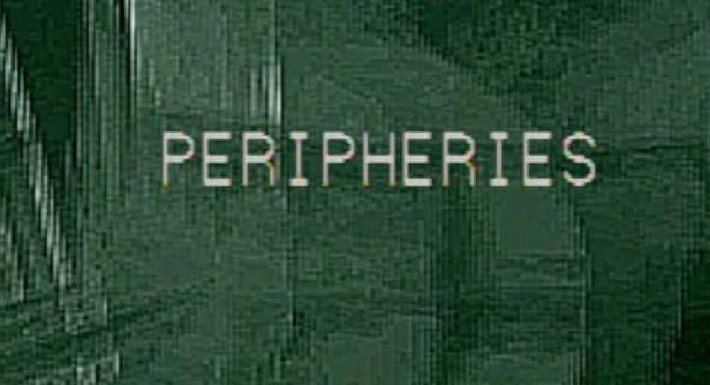 Green image with white text for Peripheries experimental film and video festival