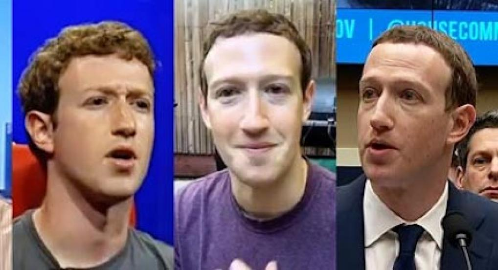 Four stills of Mark Zuckerberg from Order of Magnitude by Ben Grosser