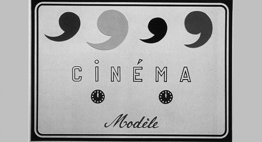 Marcel Broodthaers. Cinéma Modèle. Painted vacuum-formed plastic plate, 1970