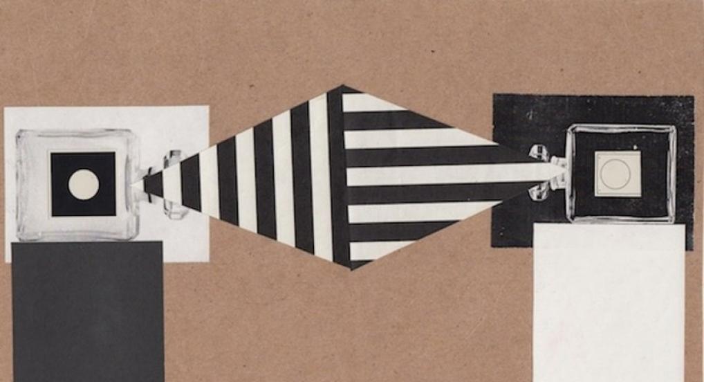 "Bradley Eros, ""L'EAU: perfumed projectors btw stripped light"", 2014, paper collage"