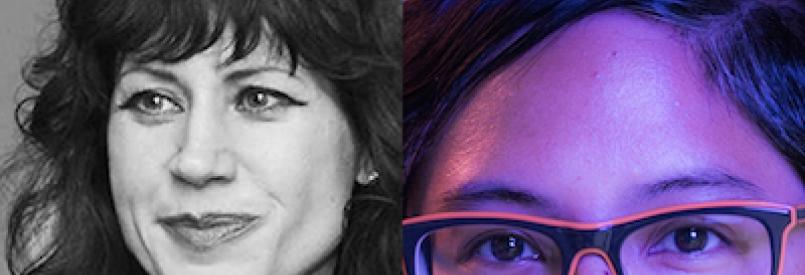 B&W image of Carla Gannis (left) and blue and magenta lit portrait of Dorothy Santos (right)