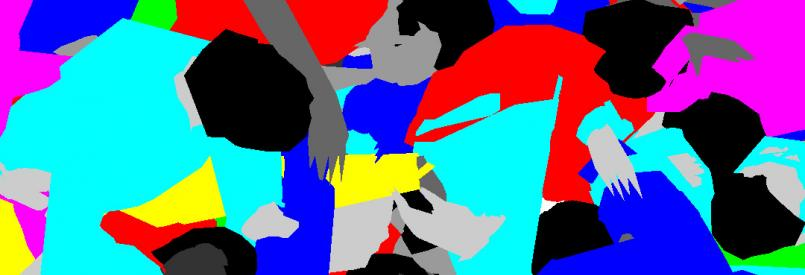 Graphic image of digitally generated people with blue, aqua, magenta, and red shirts piled up