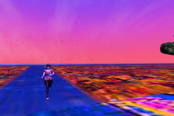 Landscape of C.A.R.L.A. G.A.N. running on a blue path with a pink to purple gradient sky in VR