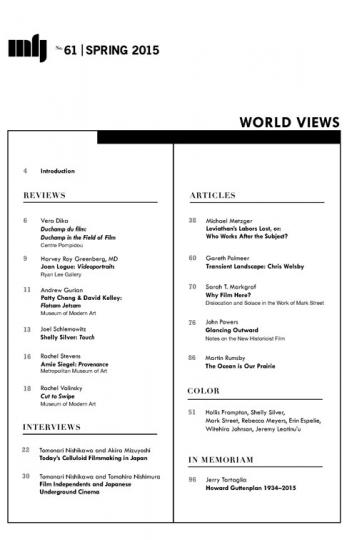 "Millennium Film Journal No. 61 ""World Views"" - Table of contents"